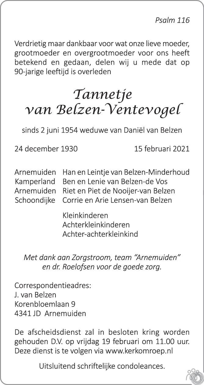 Overlijdensbericht van Tannetje van Belzen-Ventevogel in PZC Provinciale Zeeuwse Courant