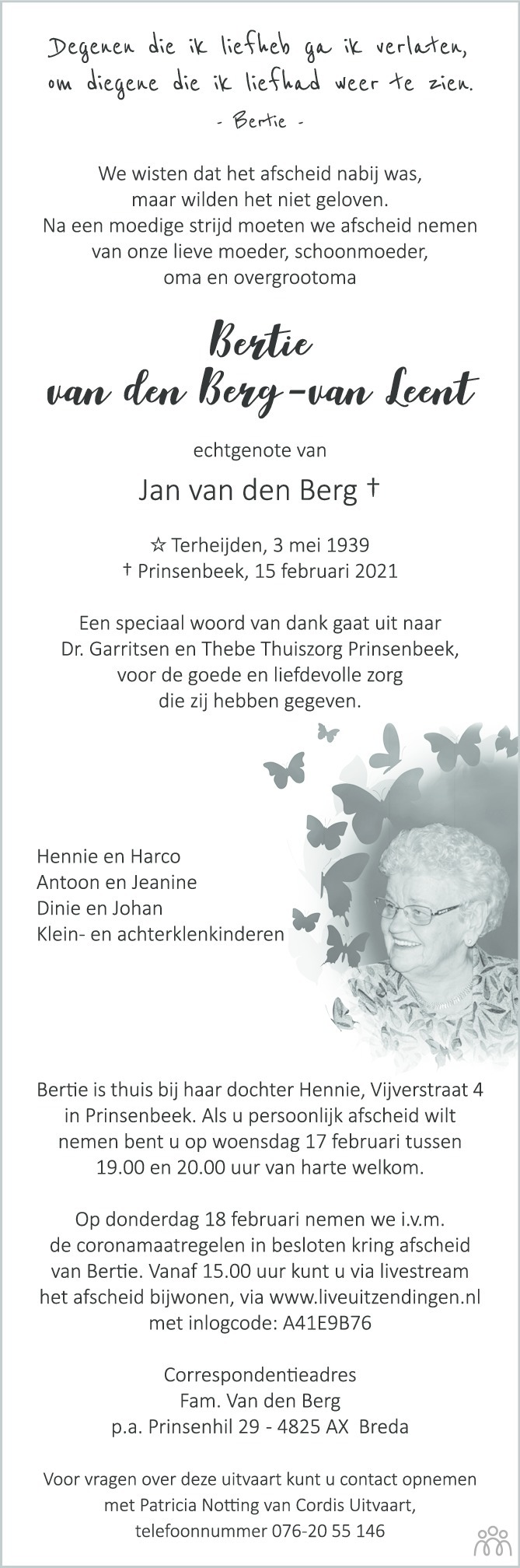 Overlijdensbericht van Bertie van den Berg-van Leent in BN DeStem