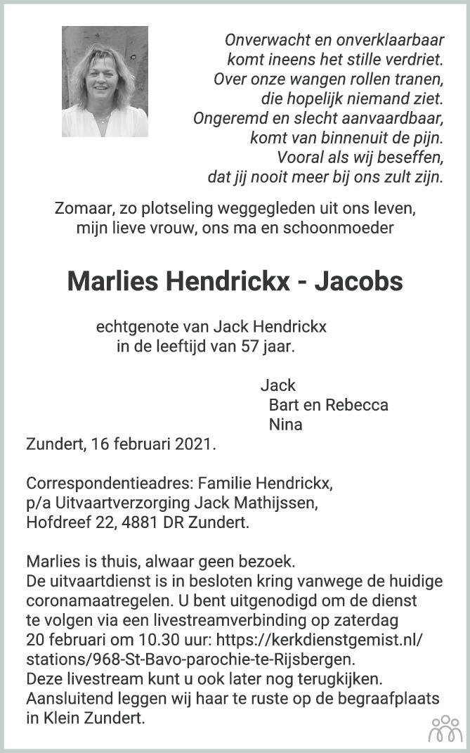 Overlijdensbericht van Marlies Hendrickx-Jacobs in BN DeStem
