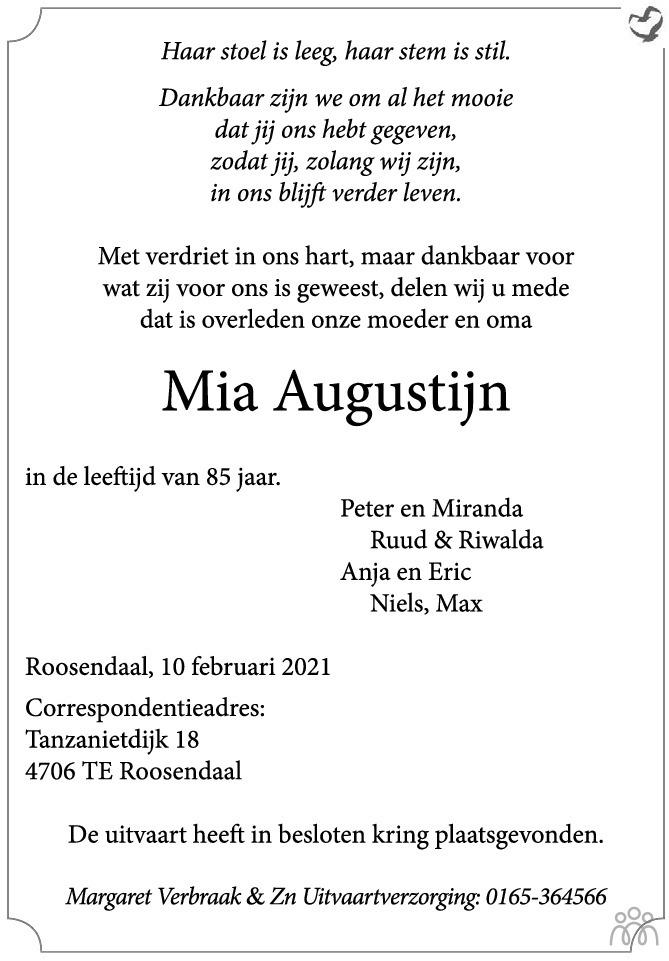 Overlijdensbericht van Mia Augustijn in BN DeStem