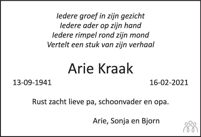Overlijdensbericht van Arie Kraak in Het Kompas vrijdag