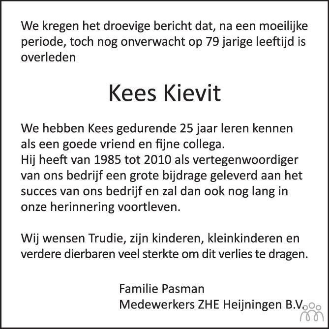 Overlijdensbericht van Cornelis (Kees) Kievit in Het Kompas vrijdag