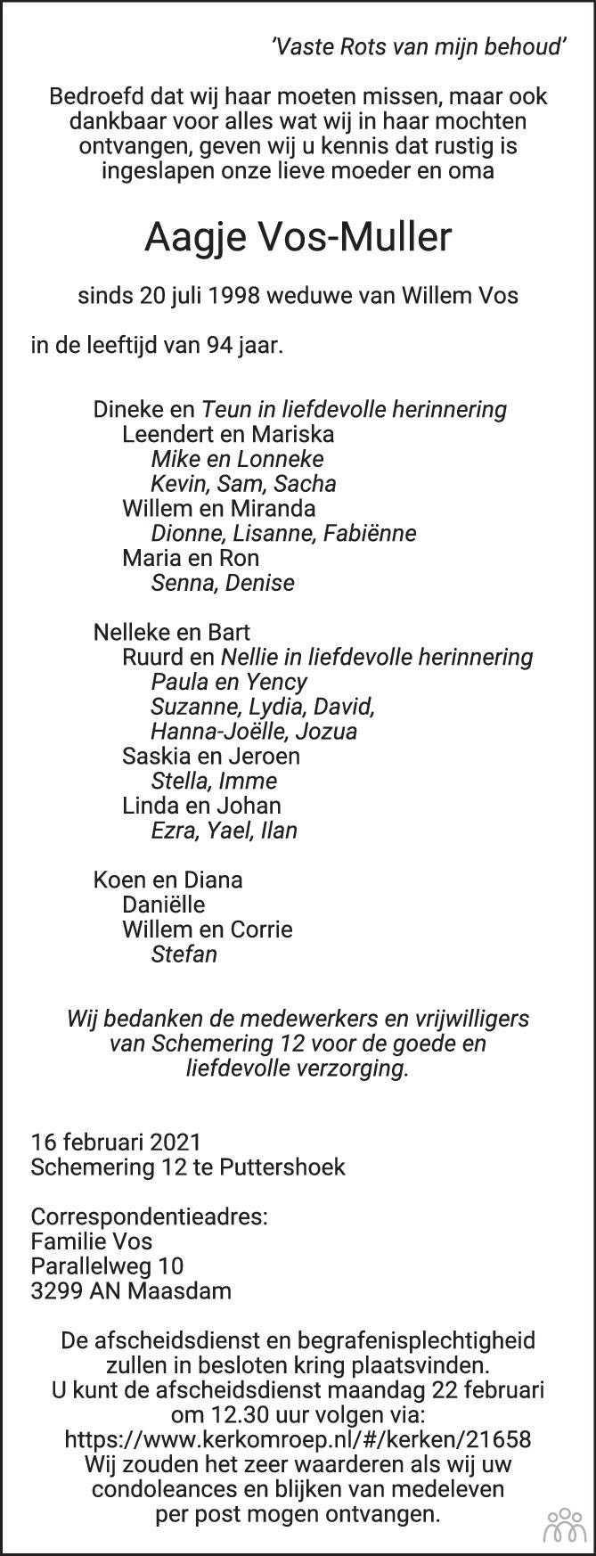 Overlijdensbericht van Aagje Vos-Muller in Het Kompas vrijdag