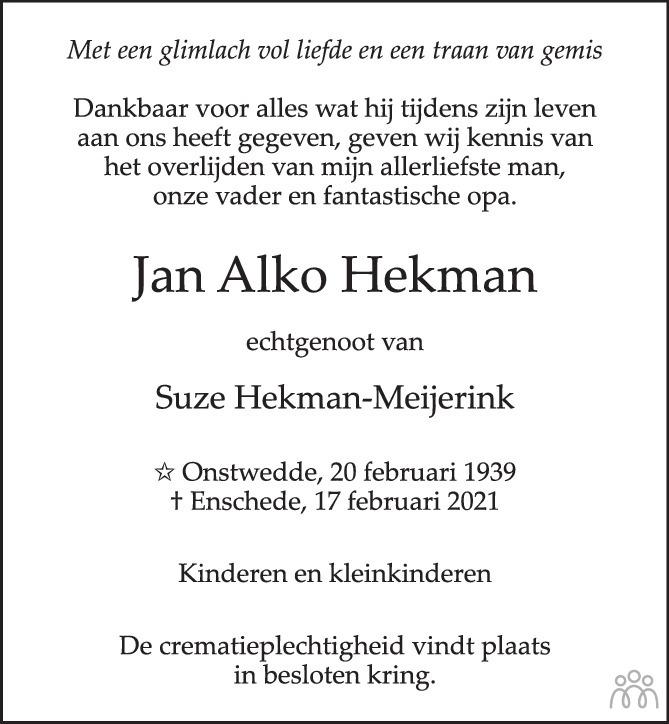 Overlijdensbericht van Jan Alko Hekman in Tubantia