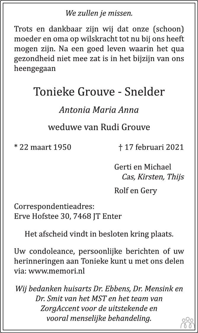 Overlijdensbericht van Tonieke (Antonia Maria Anna) Grouve-Snelder in Tubantia