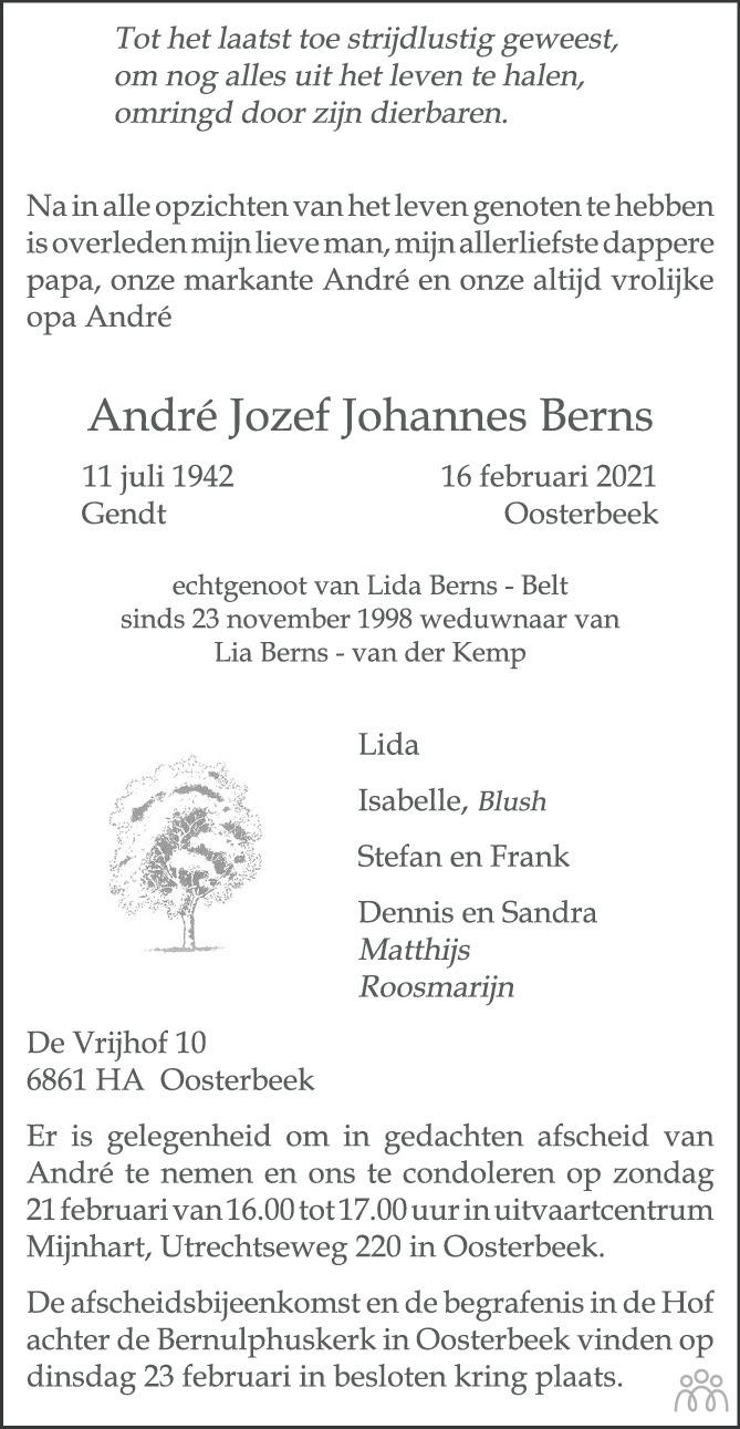 Overlijdensbericht van André Jozef Johannes Berns in de Gelderlander