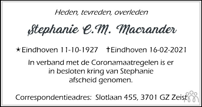 Overlijdensbericht van Stephanie Macrander in Eindhovens Dagblad