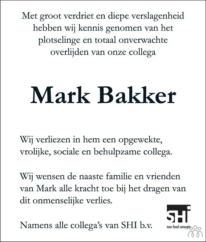 Overlijdensbericht van Mark Bakker in Eindhovens Dagblad