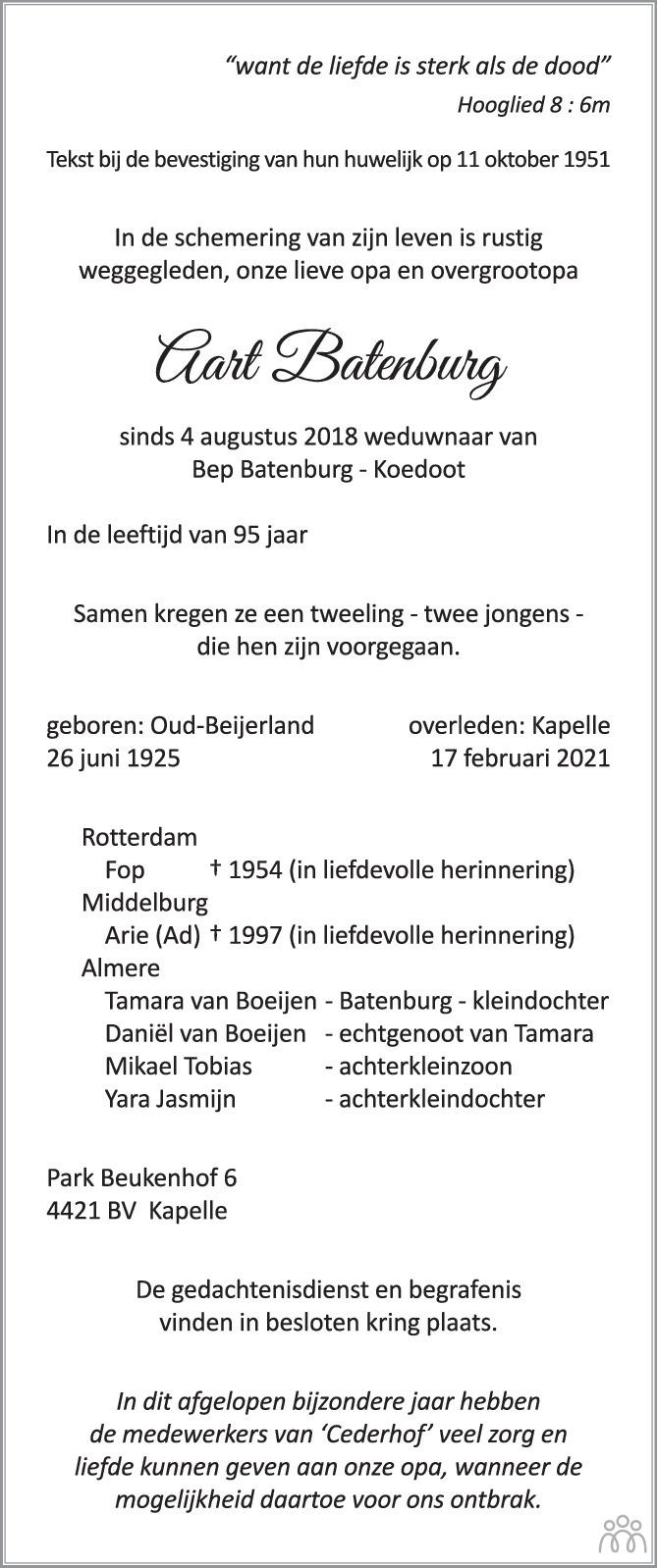 Overlijdensbericht van Aart Batenburg in PZC Provinciale Zeeuwse Courant