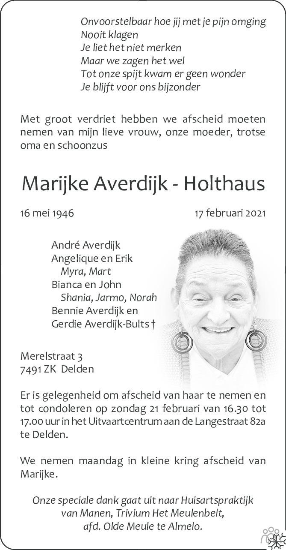 Overlijdensbericht van Marijke Averdijk-Holthaus in Tubantia