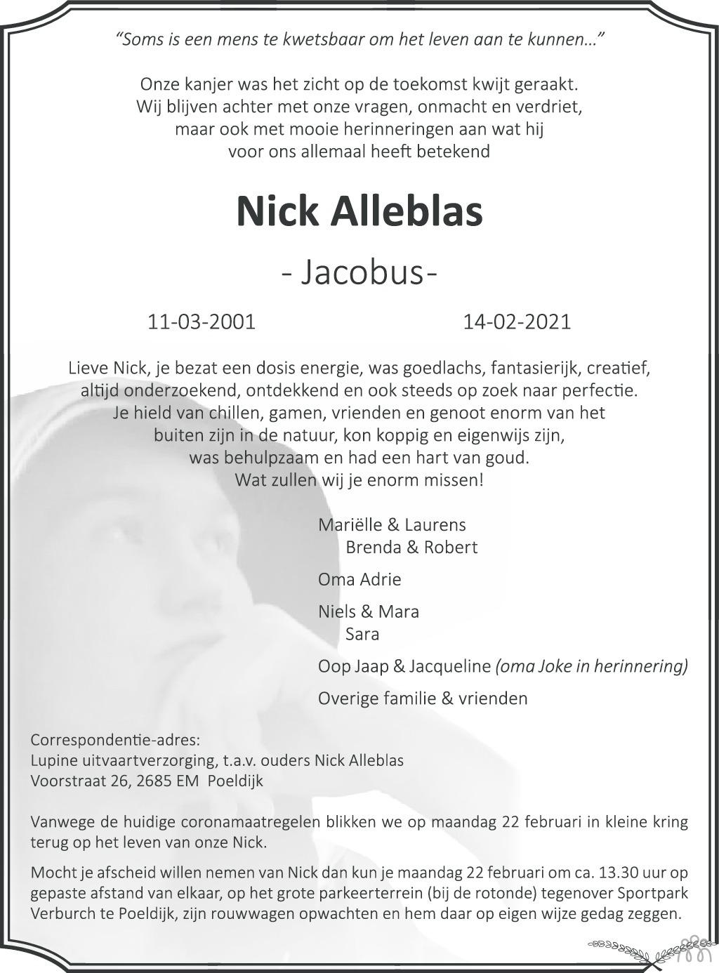 Overlijdensbericht van Nick (Jacobus) Alleblas in AD Algemeen Dagblad