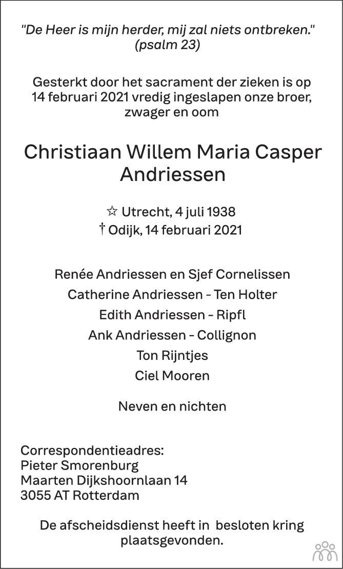 Overlijdensbericht van Christiaan Willem Maria Casper Andriessen in AD Algemeen Dagblad