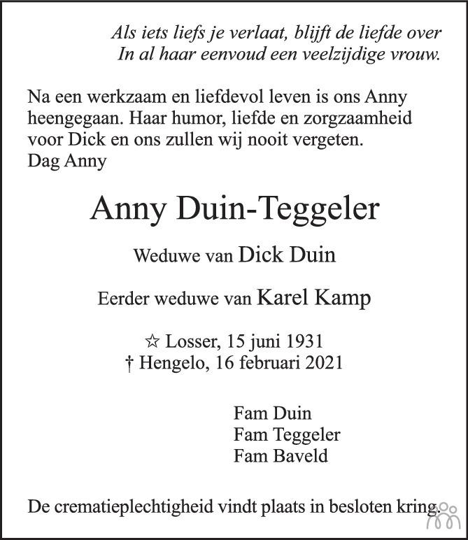 Overlijdensbericht van Anny Duin-Teggeler in Tubantia