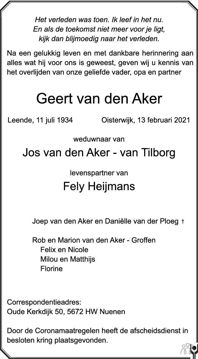 Overlijdensbericht van Geert van den Aker in Brabants Dagblad