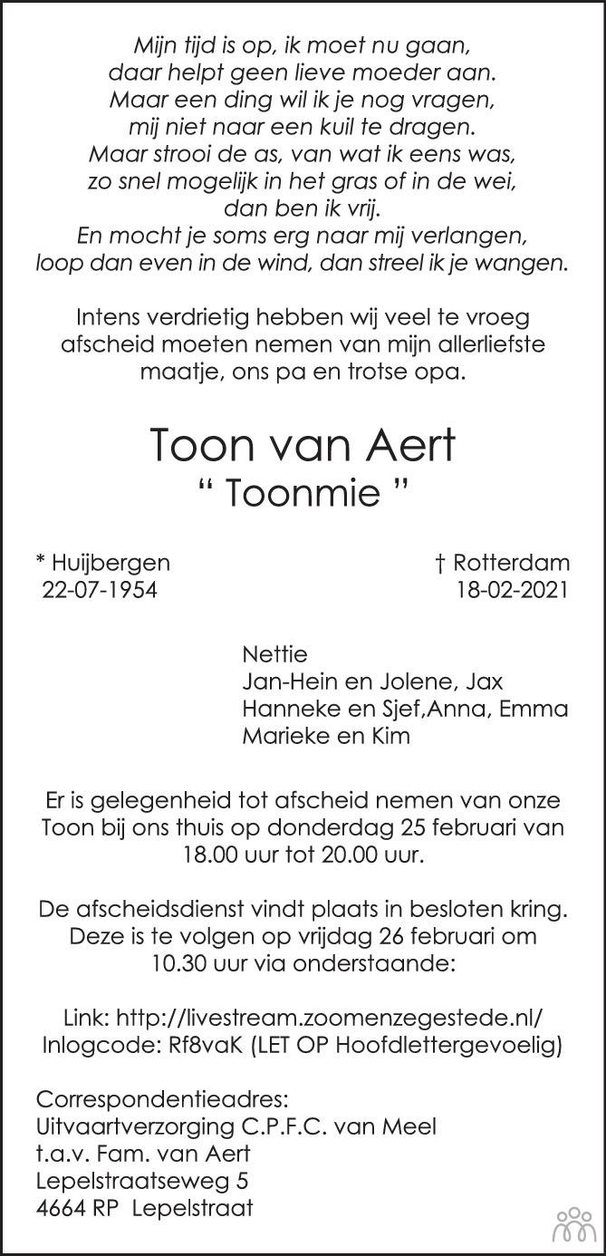 Overlijdensbericht van Toon (Toonmie) van Aert in BN DeStem