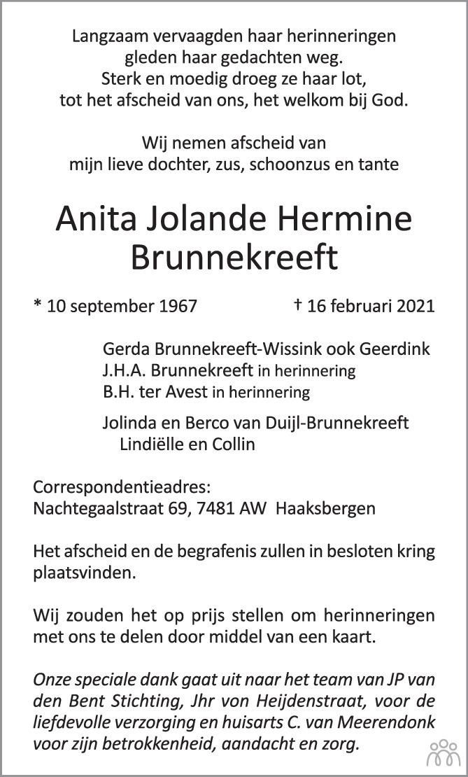Overlijdensbericht van Anita Jolande Hermine Brunnekreeft in Tubantia