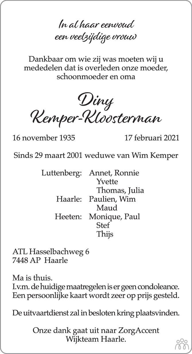 Overlijdensbericht van Diny Kemper-Kloosterman in de Stentor