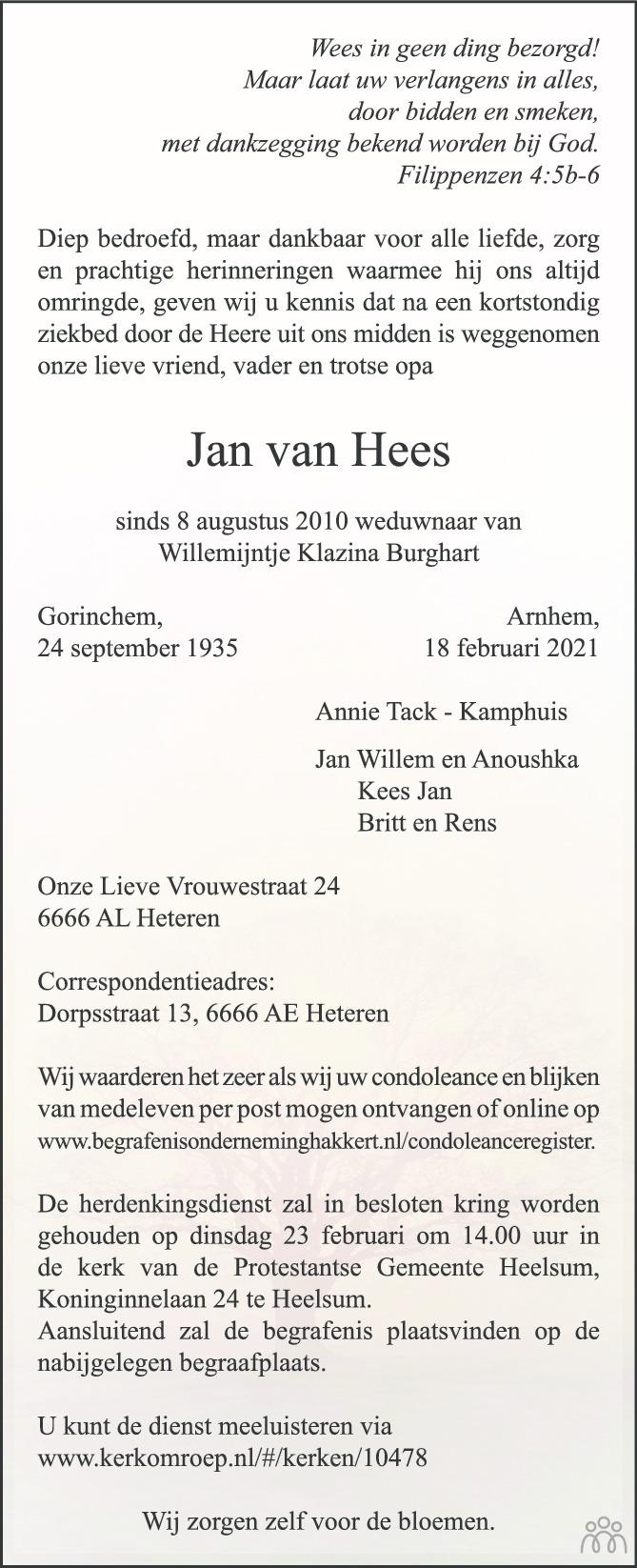 Overlijdensbericht van Jan van Hees in de Gelderlander