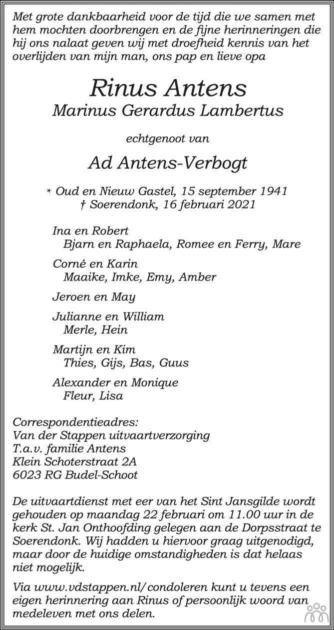 Overlijdensbericht van Rinus (Marinus Gerardus Lambertus) Antens in Eindhovens Dagblad