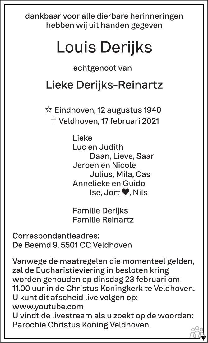 Overlijdensbericht van Louis Derijks in Eindhovens Dagblad