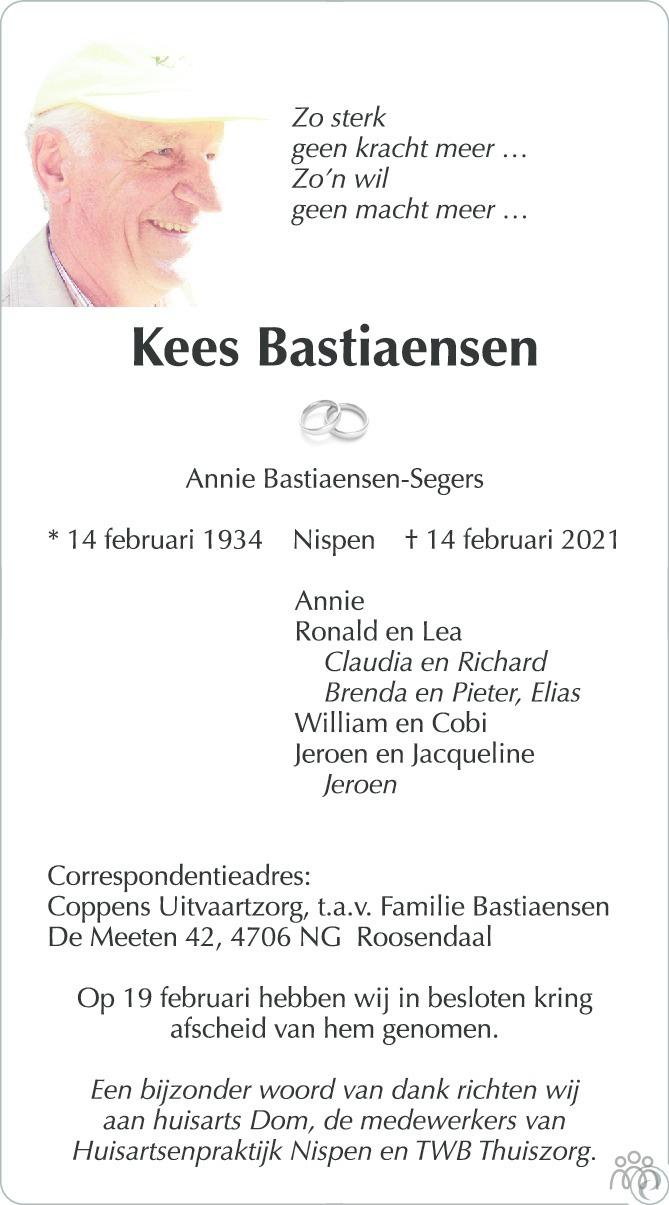 Overlijdensbericht van Kees Bastiaensen in BN DeStem