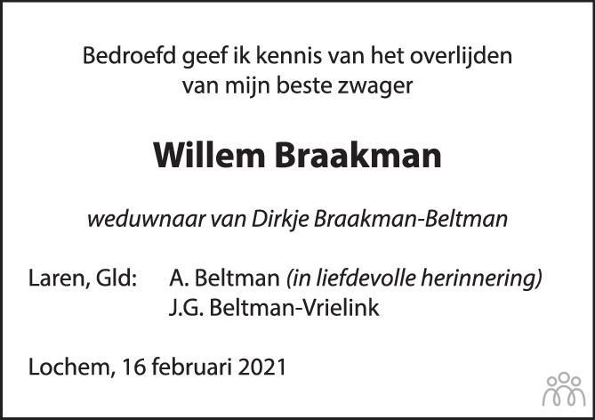 Overlijdensbericht van Hendrik Willem Braakman in de Stentor