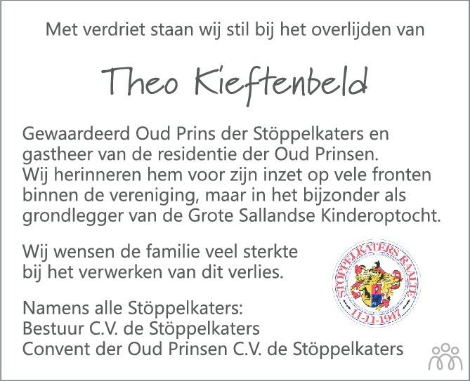 Overlijdensbericht van Theo (Theodorus Antonius) Kieftenbeld in de Stentor