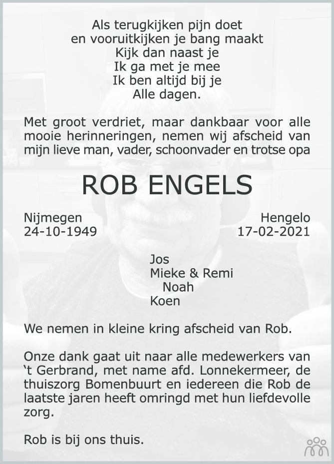 Overlijdensbericht van Rob Engels in Tubantia