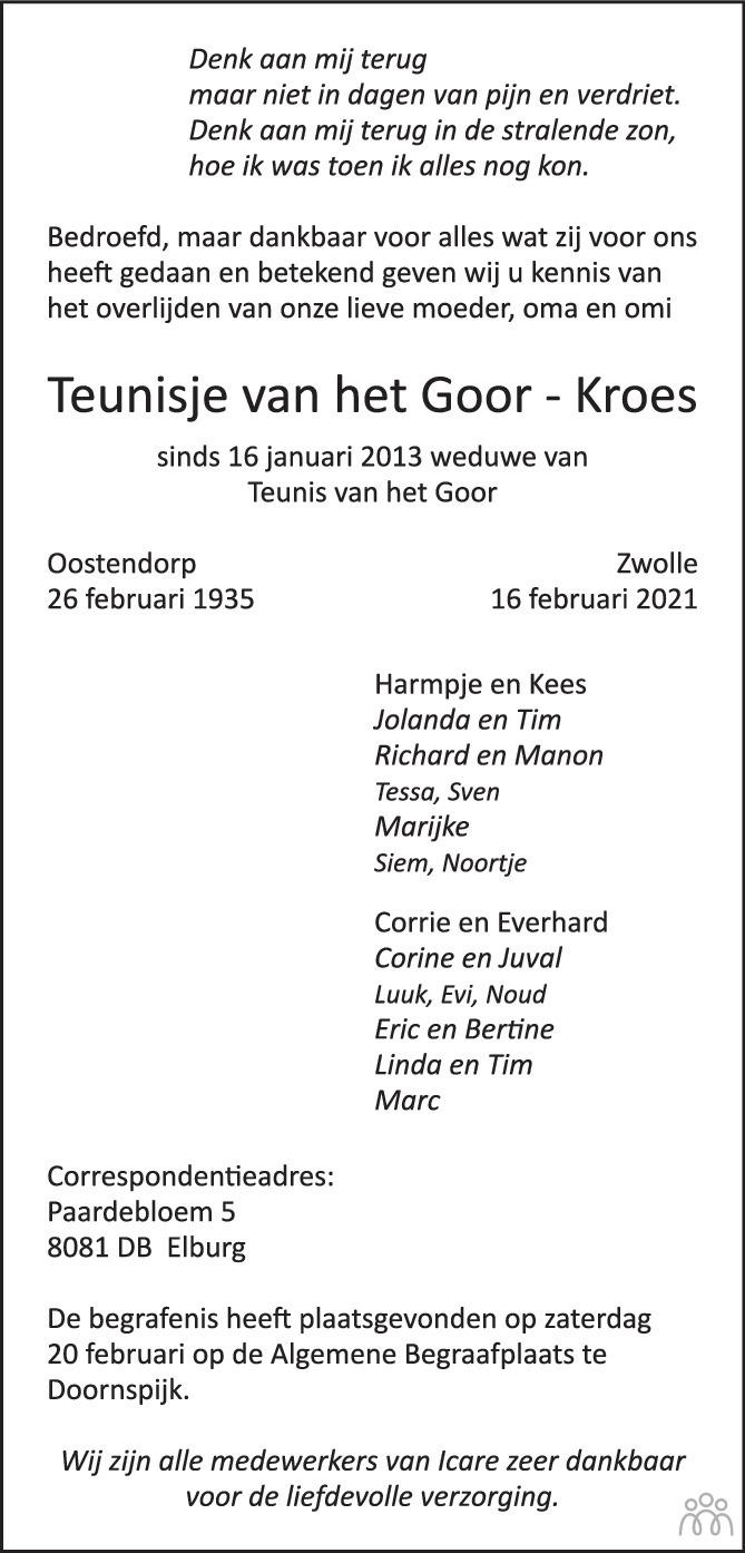Overlijdensbericht van Teunisje van het Goor-Kroes in Huis aan Huis Elburg Oldebroek Nunspeet