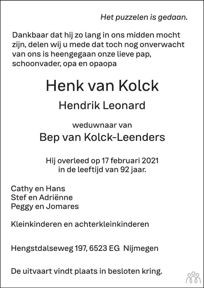 Overlijdensbericht van Henk (Hendrik Leonard) van Kolck in de Gelderlander