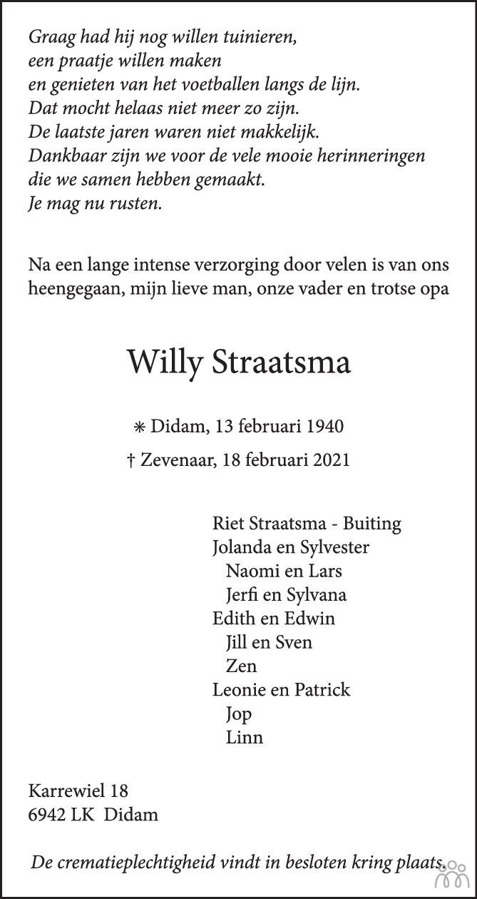 Overlijdensbericht van Willy Straatsma in Montfertland Journaal