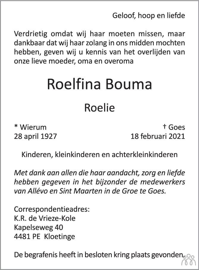 Overlijdensbericht van Roelfina (Roelie) Bouma in PZC Provinciale Zeeuwse Courant