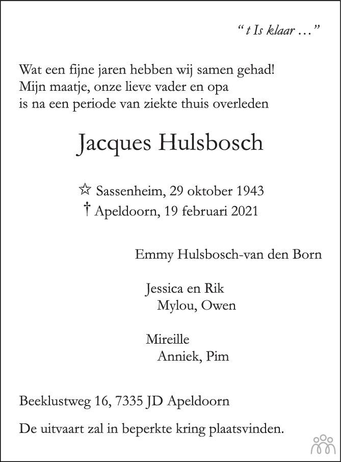 Overlijdensbericht van Jacques Hulsbosch in de Stentor