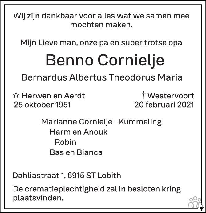 Overlijdensbericht van Benno Cornielje in de Gelderlander