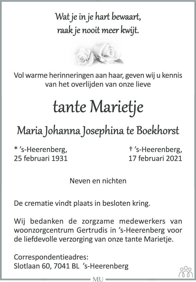 Overlijdensbericht van Marietje (Maria Johanna Josephina) te Boekhorst in Montfertland Journaal