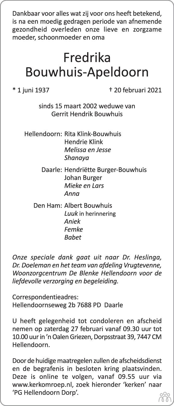 Overlijdensbericht van Fredrika Bouwhuis-Apeldoorn in Twents Volksblad