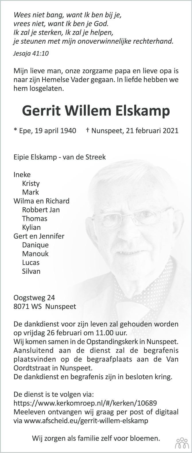 Overlijdensbericht van Gerrit Elskamp in Huis aan Huis Elburg Oldebroek Nunspeet