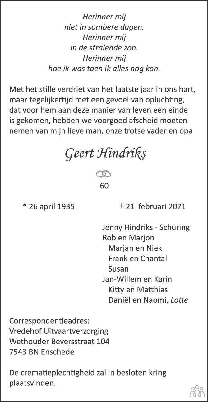 Overlijdensbericht van Geert Hindriks in Tubantia