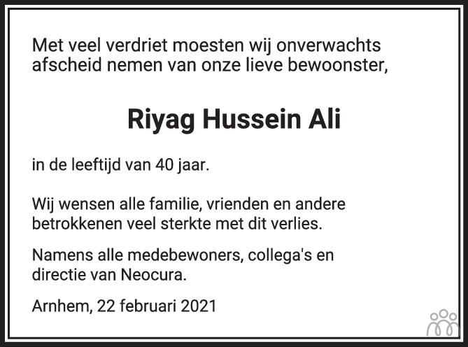 Overlijdensbericht van Riyag Hussein Ali in de Gelderlander