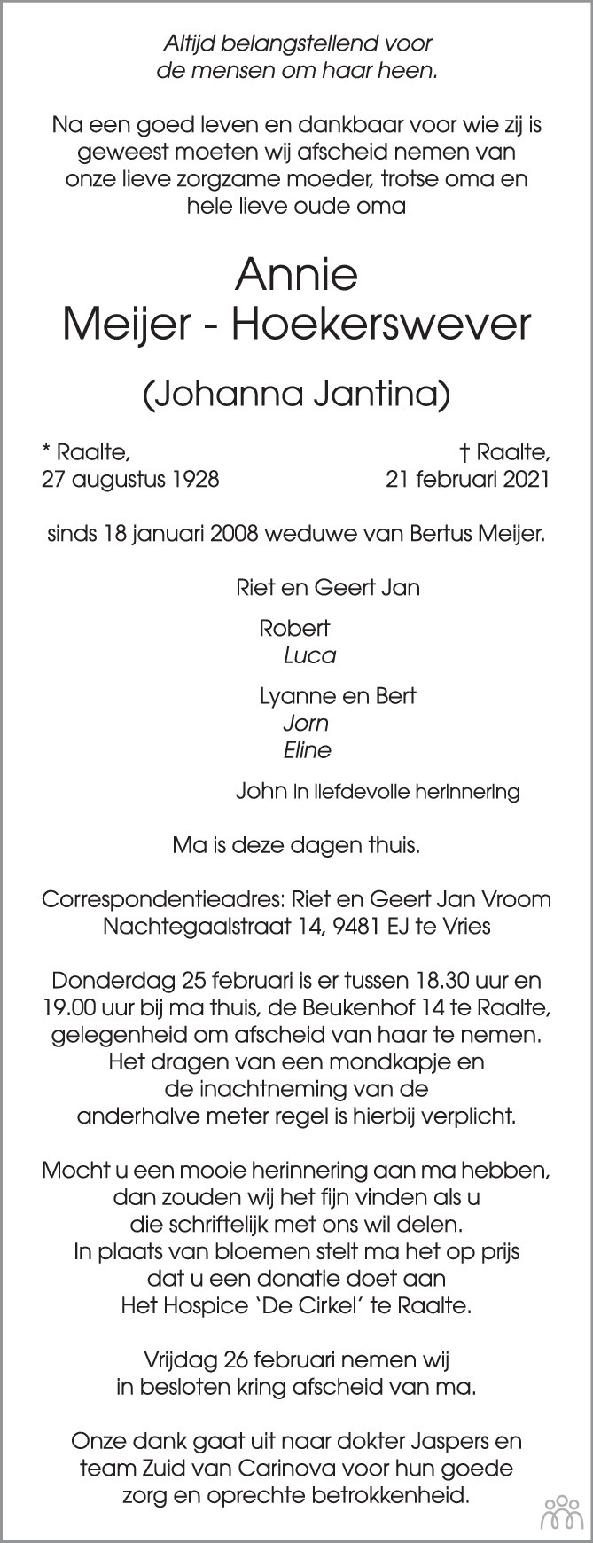 Overlijdensbericht van Annie (Johanna Jantina) Meijer-Hoekerswever in de Stentor