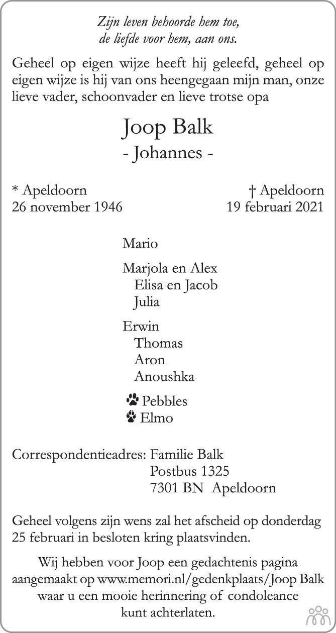 Overlijdensbericht van Joop (Johannes) Balk in de Stentor