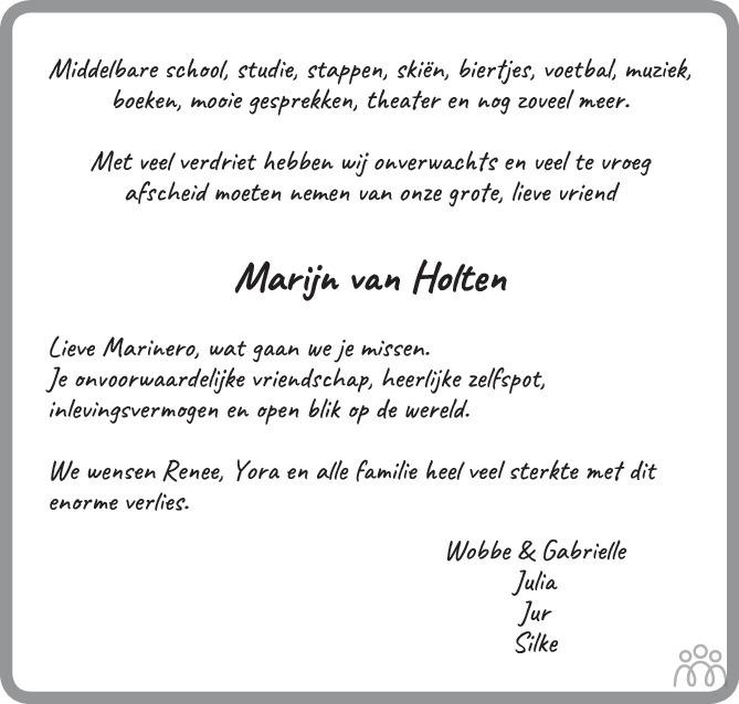 Overlijdensbericht van Marijn van Holten in Het Kompas woensdag