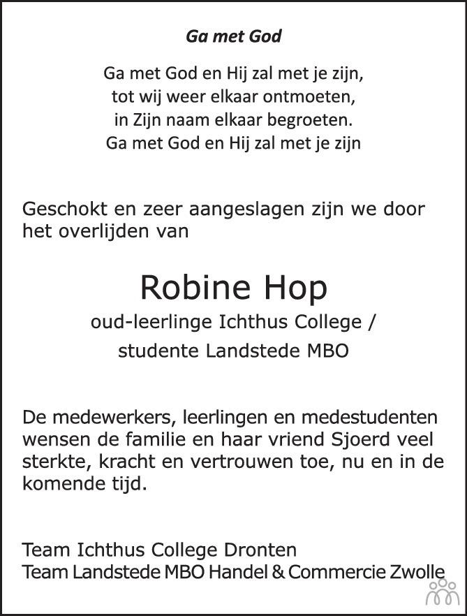 Overlijdensbericht van Robine Hop in de Stentor