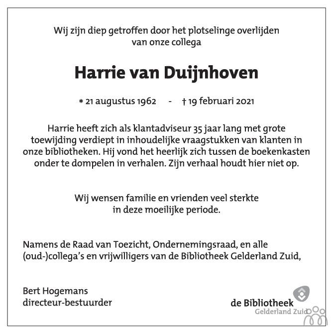 Overlijdensbericht van Harrie van Duijnhoven in de Gelderlander