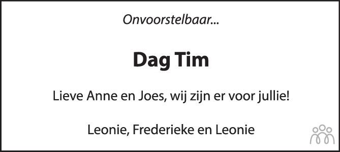 Overlijdensbericht van Tim van der Aa in Tubantia