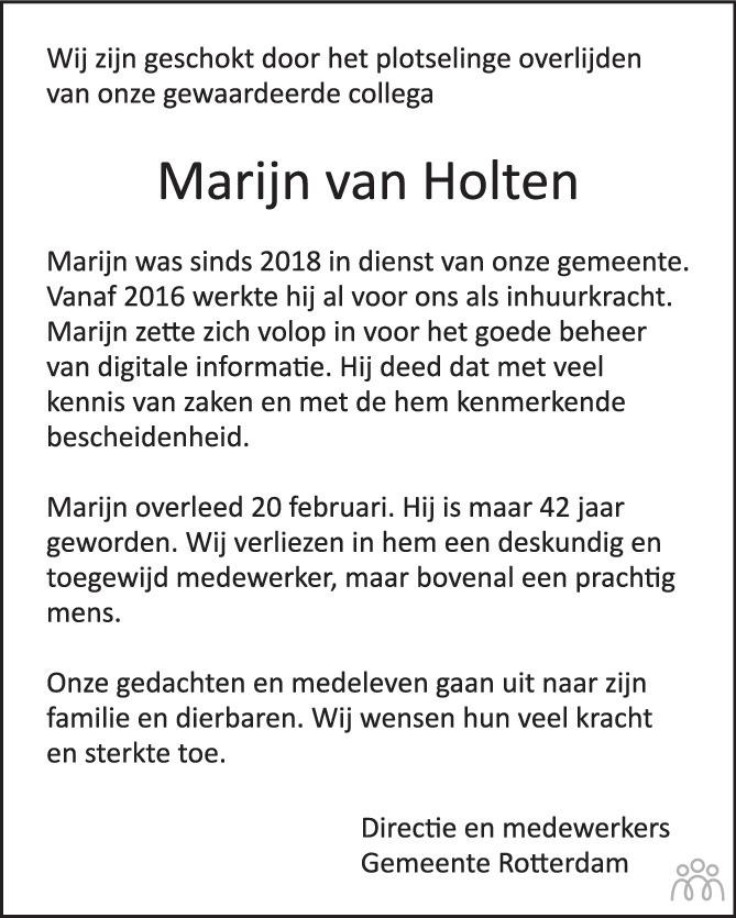 Overlijdensbericht van Marijn van Holten in de Volkskrant
