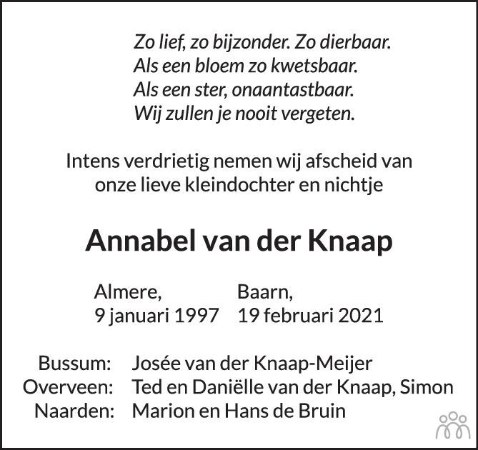 Overlijdensbericht van Annabel (Madelief) van der Knaap in de Volkskrant