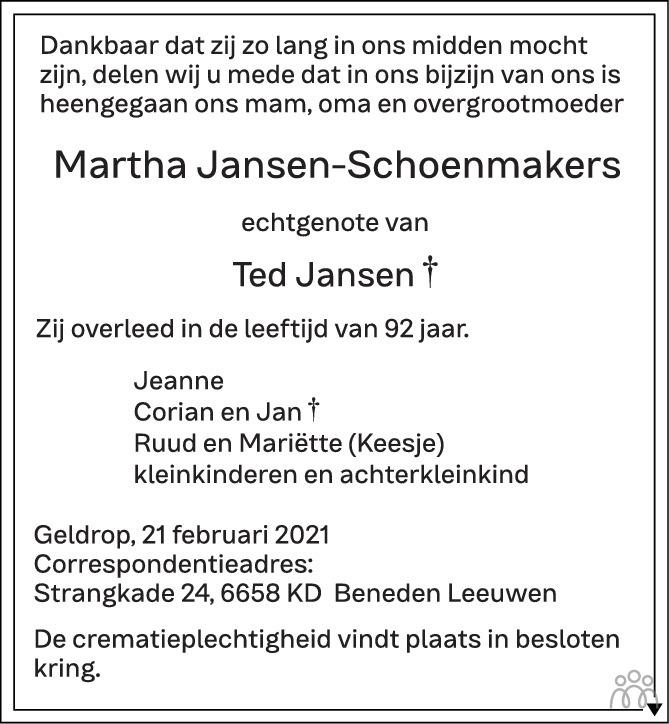 Overlijdensbericht van Martha Jansen-Schoenmakers in Eindhovens Dagblad