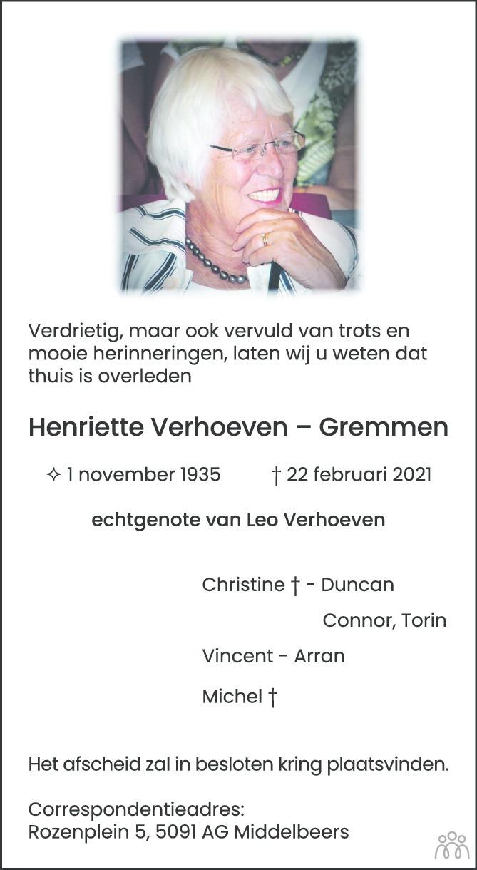Overlijdensbericht van Henriette Verhoeven-Gremmen in Eindhovens Dagblad
