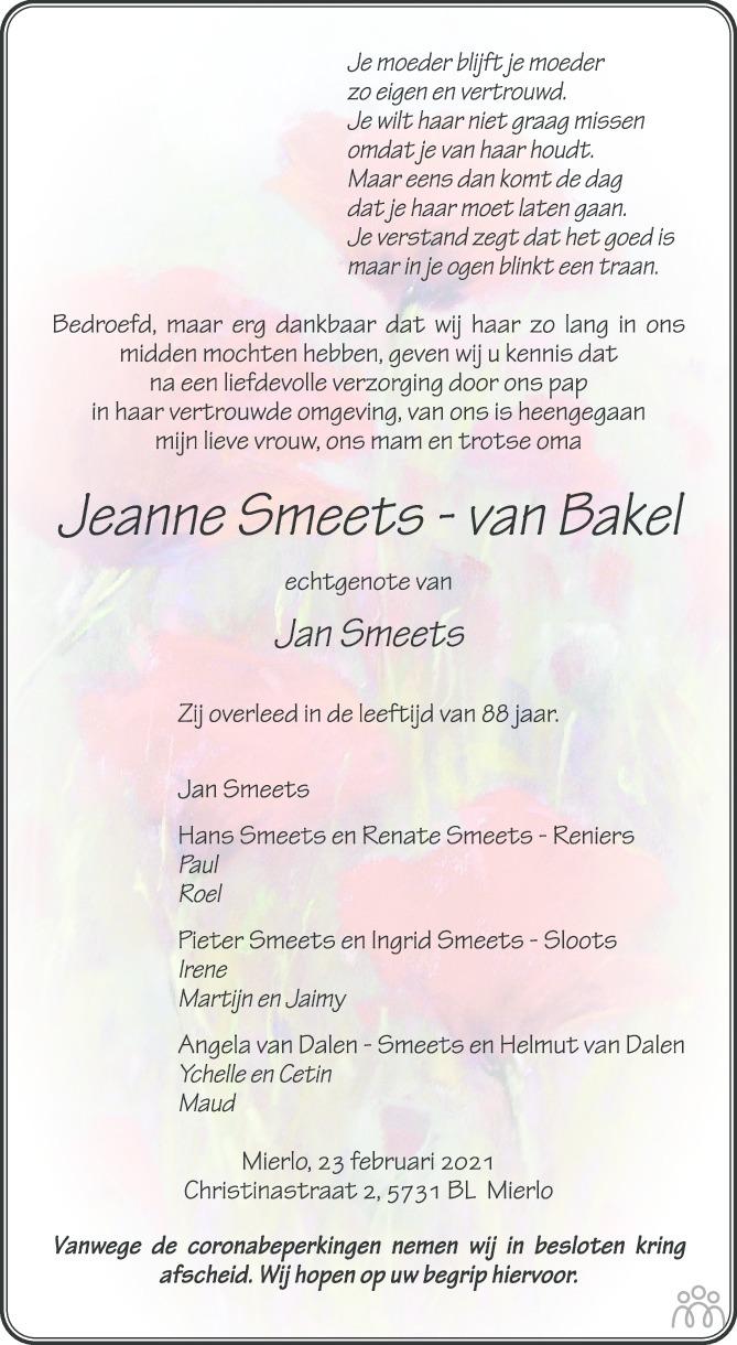 Overlijdensbericht van Jeanne Smeets-van Bakel in Eindhovens Dagblad